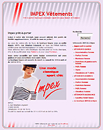 Site web de la boutique de v�tements Impex � Dijon